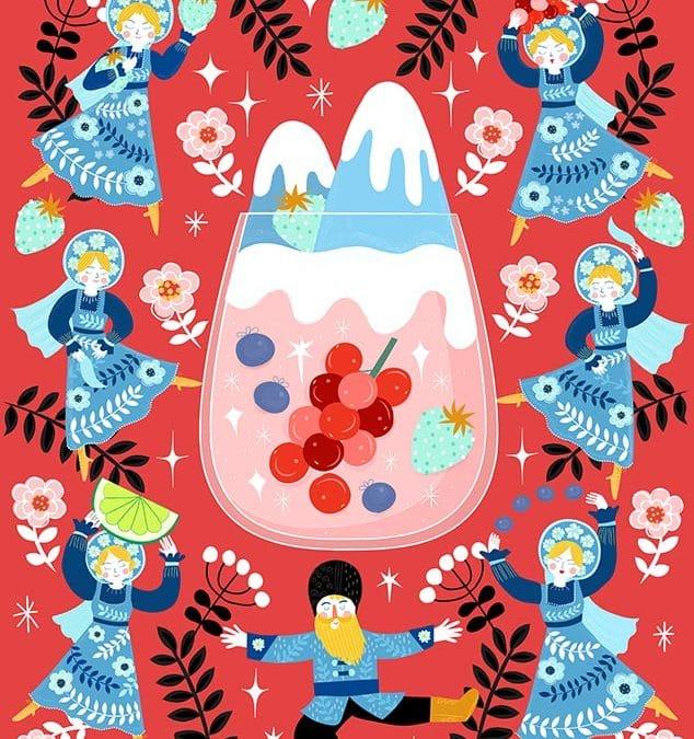 Russian Berries Mules Illustration