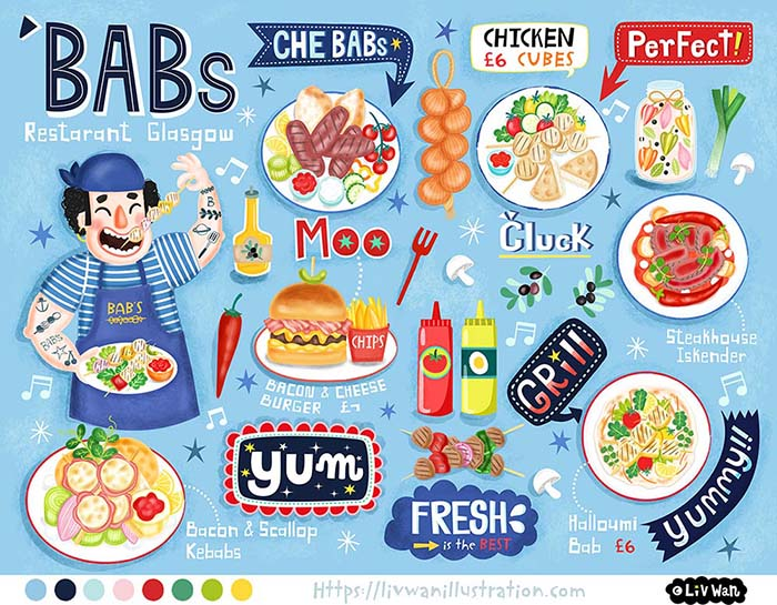 childrens illustrated menu