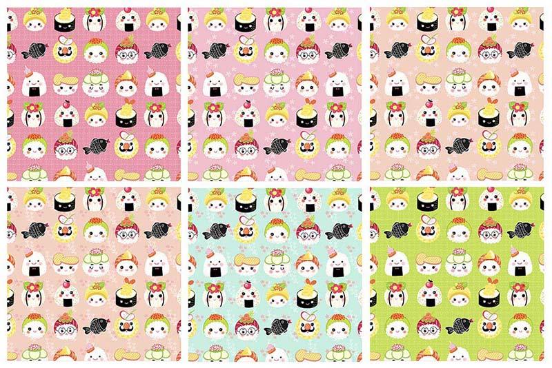 Kawaii Sushi Patterns