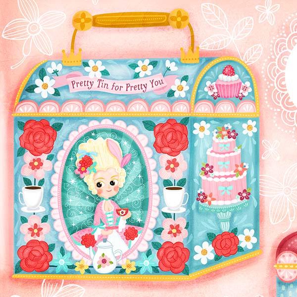 lady rococo tin box design