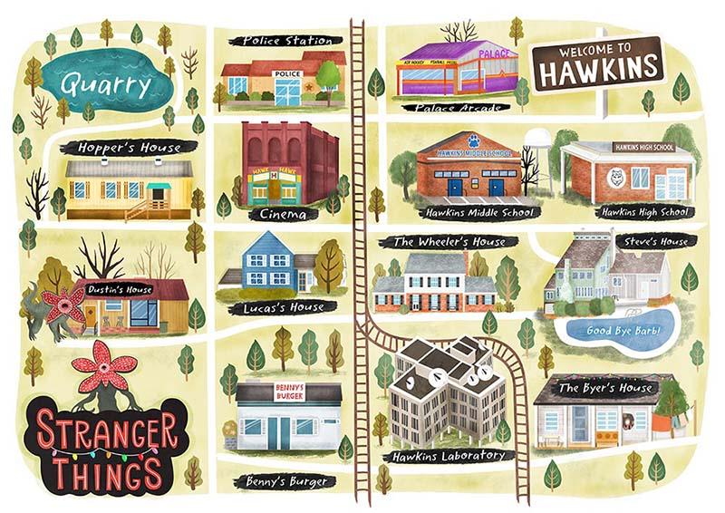 Stranger Things Illustrated Map