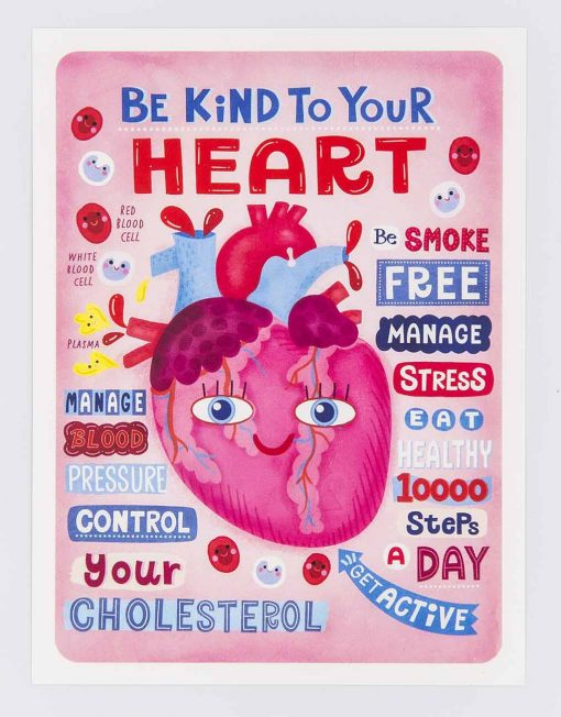 be kind to your heart postcard