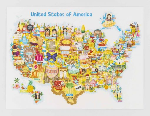 usa map postcard
