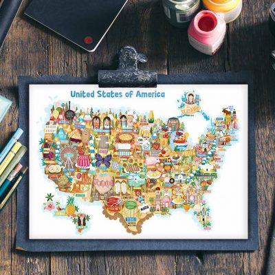 USA Map Postcard Illustration Mini Print
