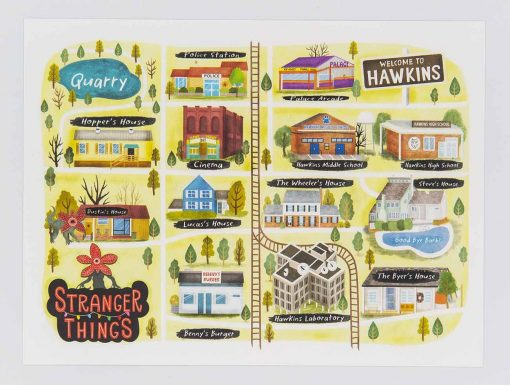 stranger things hawkins map postcard