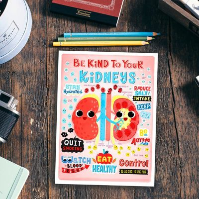 be kind to your kidneys postcard