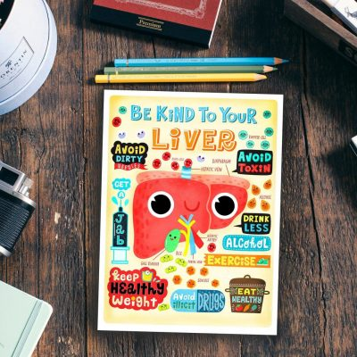 Be Kind to Your Liver- Anatomy Poster, Mini Print, Postcard, Wall art