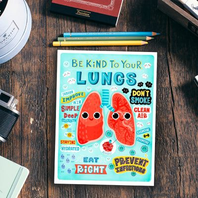 Be Kind to Your Lungs- Anatomy Poster, Mini Print, Postcard, Wall art