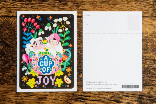 Coffee Lovers-A Cup Of Joy Post Card Illustration Mini Print Wall Art