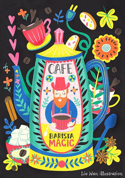 Coffee Lovers - Barista Magic Postcard Illustration