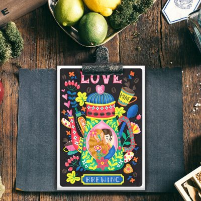 Coffee Lovers-Love Is Brewing Post Card Illustration Mini Print Wall Art
