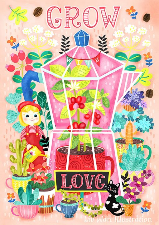 Coffee Lovers-Grow With Love Post Card Illustration Mini Print Wall Art