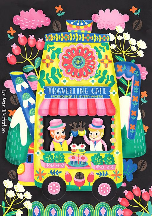 Coffee Lovers - Travelling Cafe Postcard Illustration