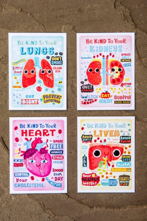 "Entire collection of ""Be Kind To Yourself"" four postcards, Anatomy Poster, Mini Print, Postcard, Wall art"