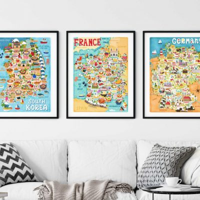 Buy One Get One Half Price Map Illustration Wall Art Print Poster - A4 and A3 only