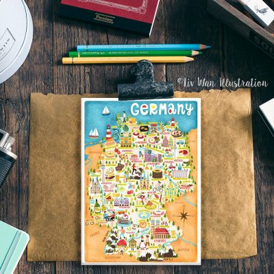 Germany Map Illustration Postcard Mini Print Wall Art