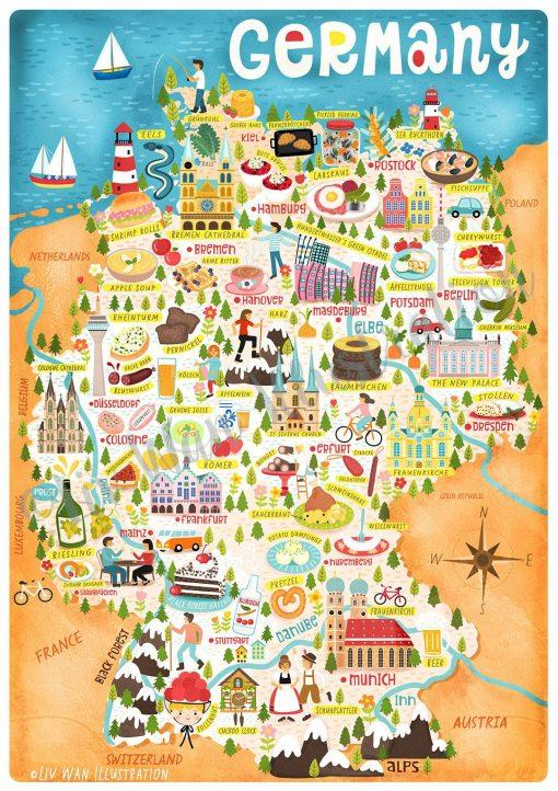 Germany Map Postcard Mini Art Print