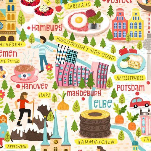 Germany Map Illustration Postcard Mini Print Wall Art