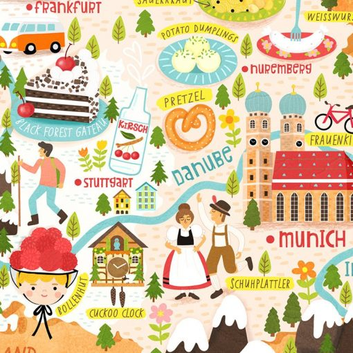 Germany Map Illustration Poster Wall Art