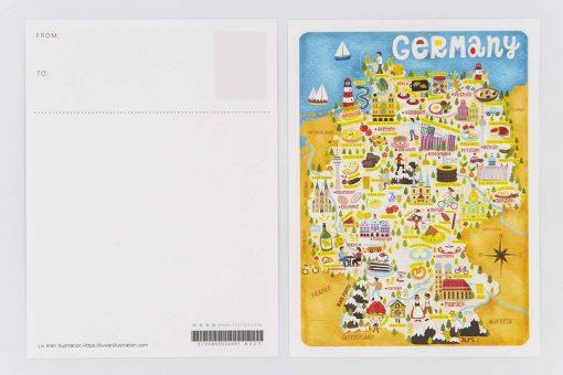 germany map postcard