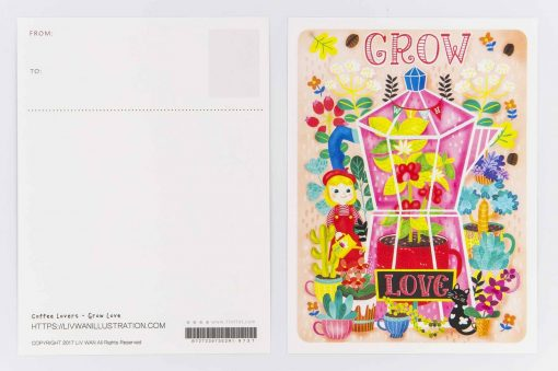 grow with love coffee lovers postcard