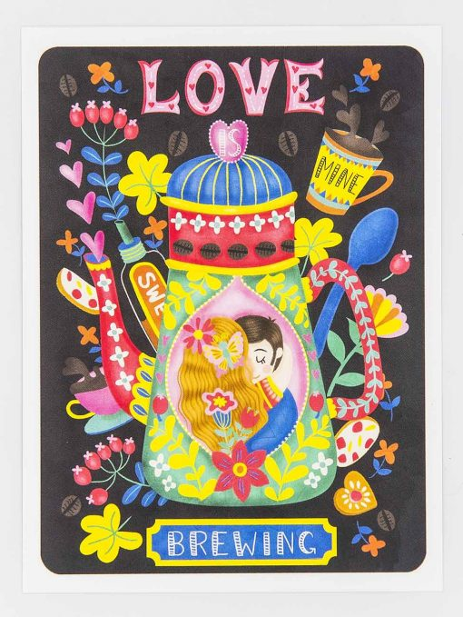 love is brewing coffee lovers postcard
