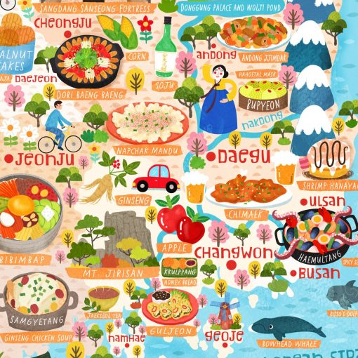 South Korea Food Map Illustration Wall Art Print Poster