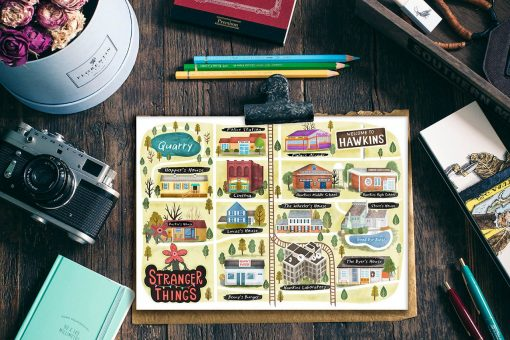 Stranger Things Hawkins Map Postcard Mini Print TV poster Map illustration