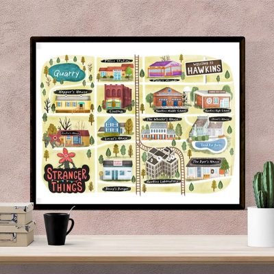 Stranger Things Map-Map of Hawkins Poster-TV Print-Poster-Wall Art-Map Illustration