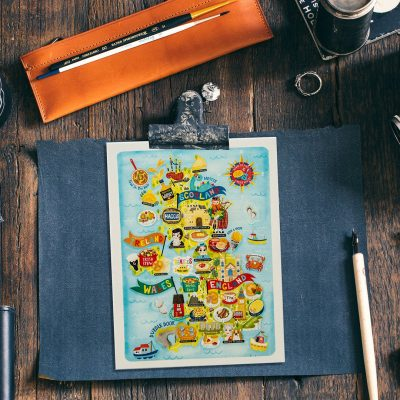 UK Map illustration Postcard mini print