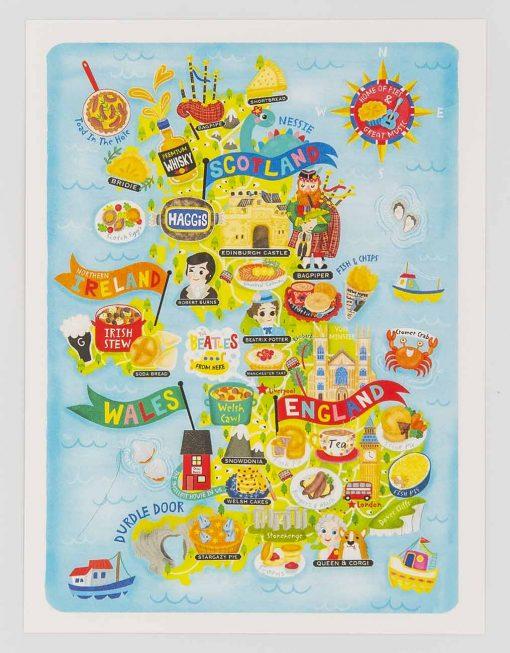 UK map postcard