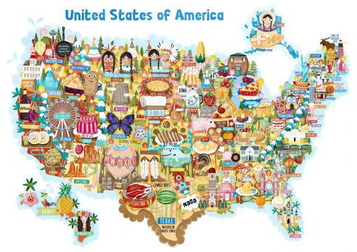 USA Map Illustration Postcard Mini Print