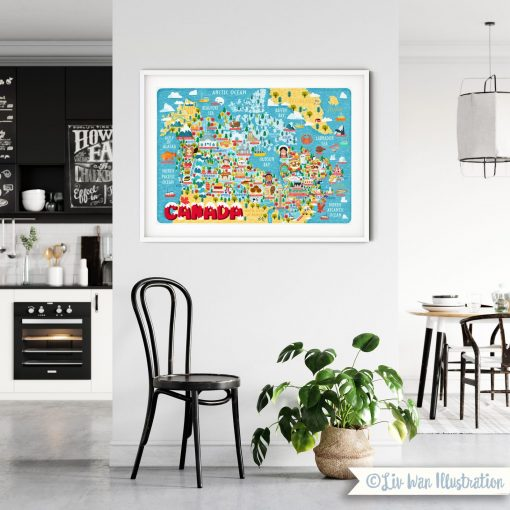 Canada Map Illustration Poster Wall Art Print Colourful and Fun