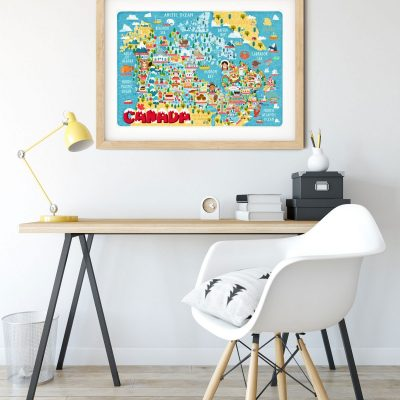 Canada Map Illustration Poster Wall Art Print Giclée