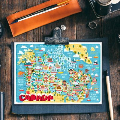 Canada Map Illustration Postcard Mini Art Mini Print