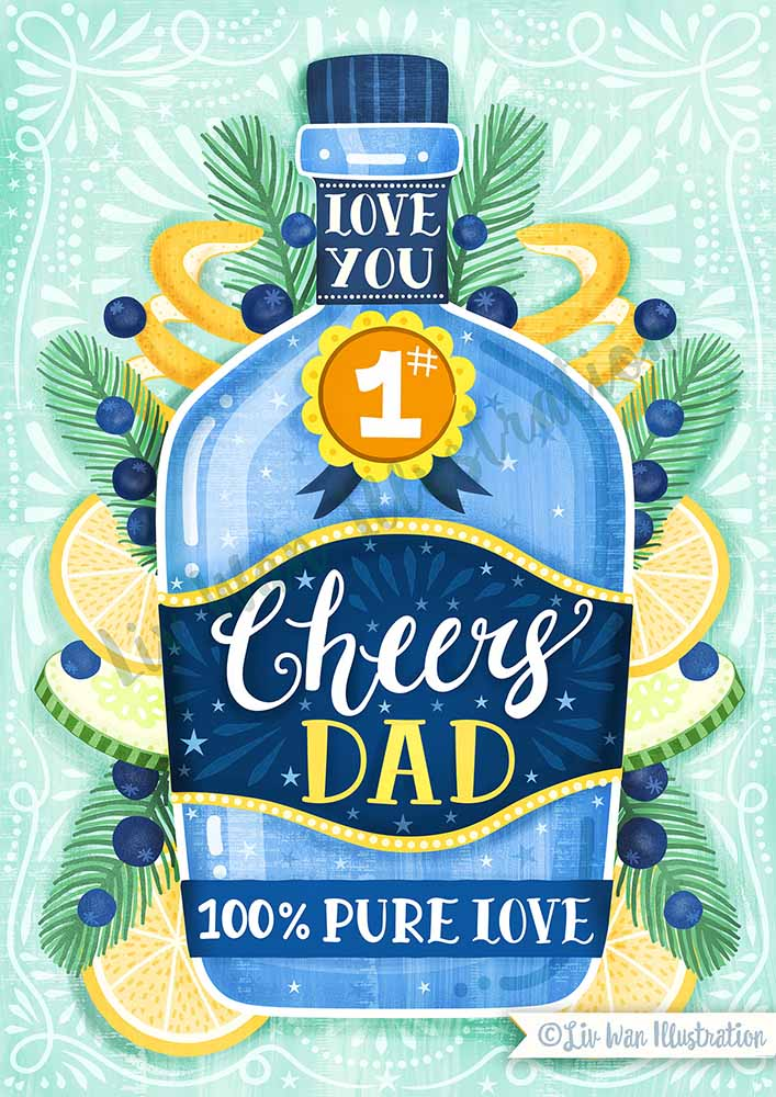 gin fathers day card