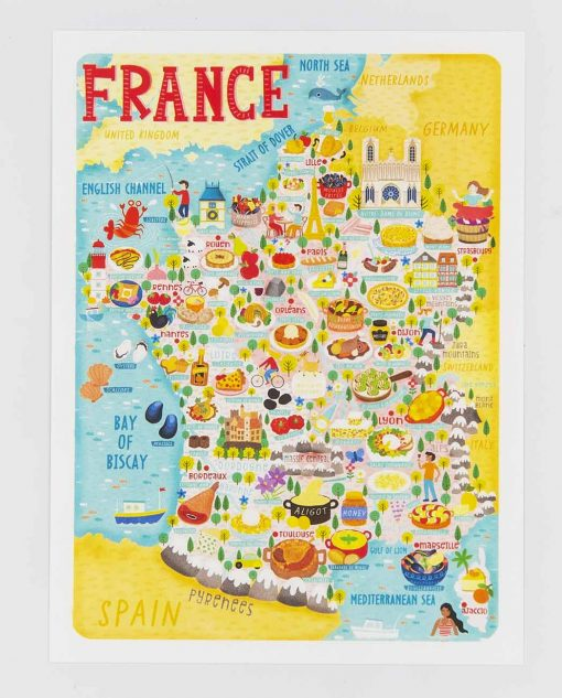 france food map postcard