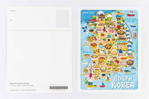 south korea map postcard