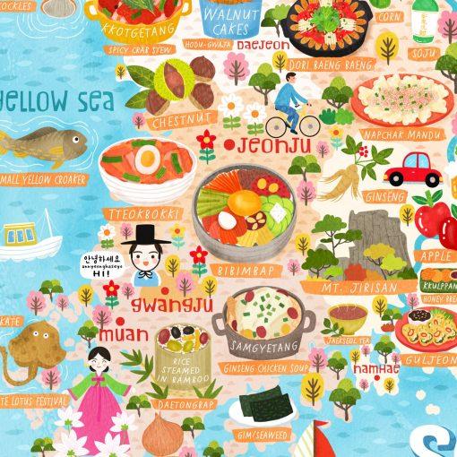 south korea postcard map detail