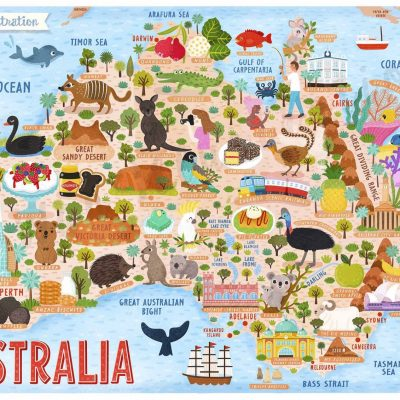 australia map illustration poster wall art