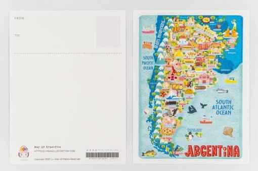 argentina map postcard