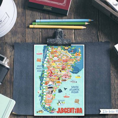 argentina map postcard illustration