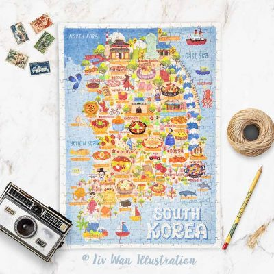 south korea map jigsaw