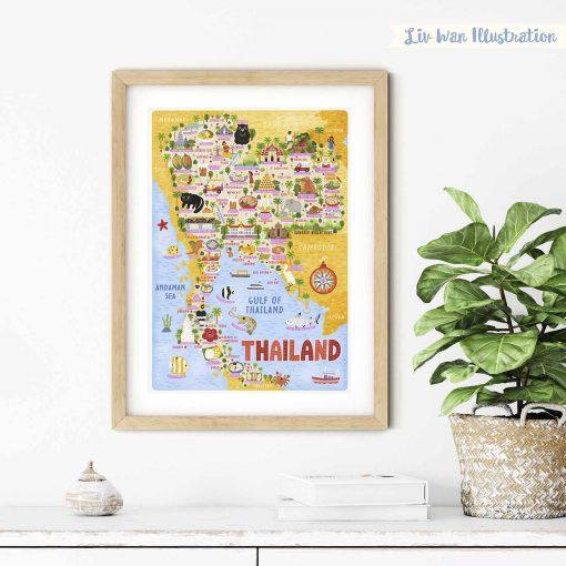 Thailand Map Poster Wall Art Illustration
