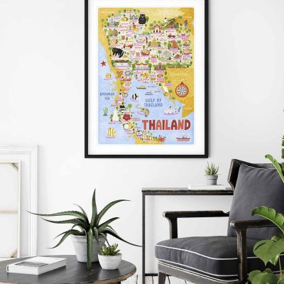 thailand map wall art