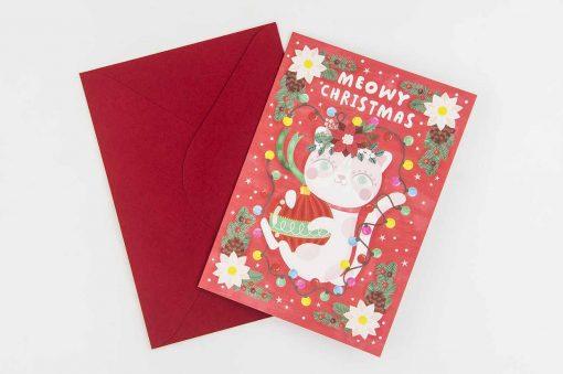 meowy xmas christmas card red