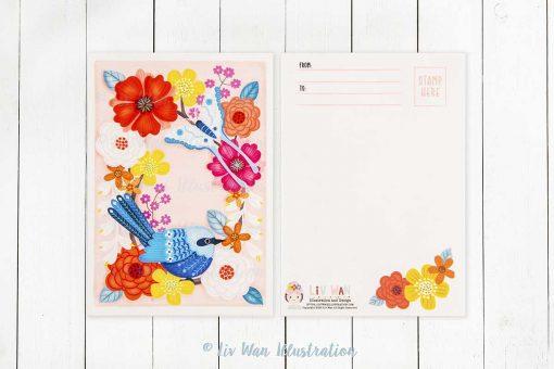 blue fairy wren postcard