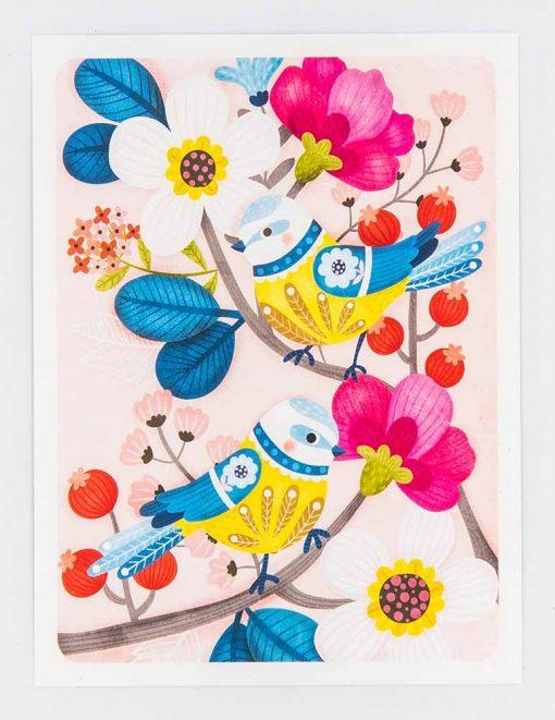 blue tit postcard