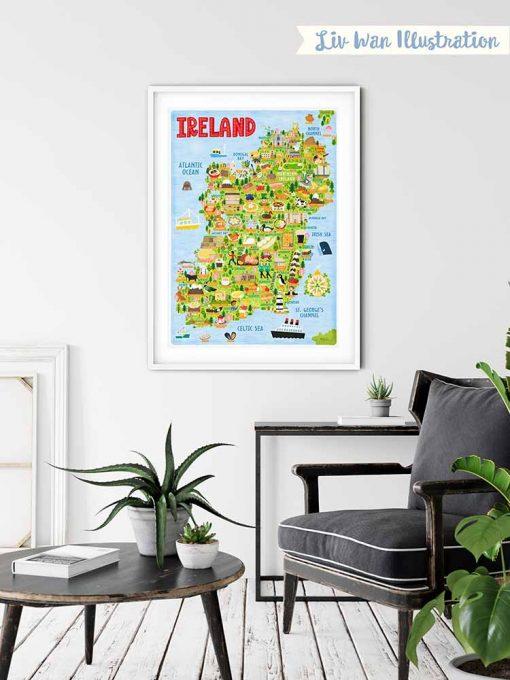 ireland map poster framed