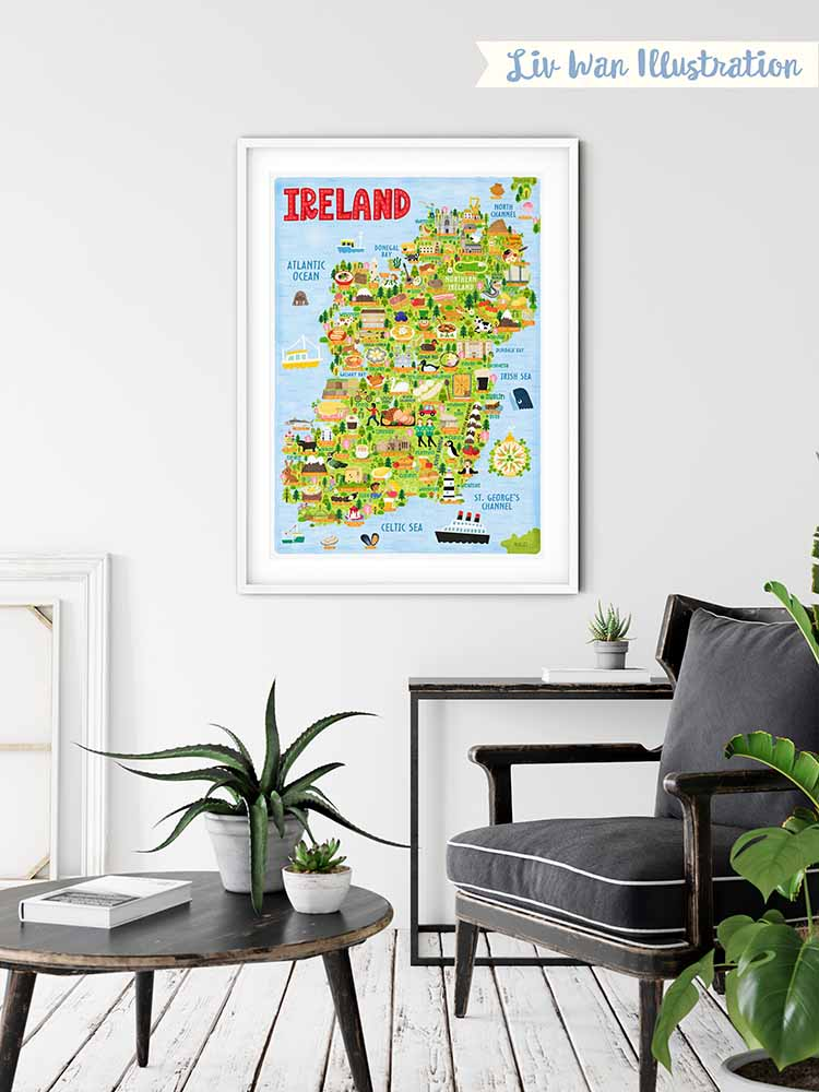ireland map poster framed